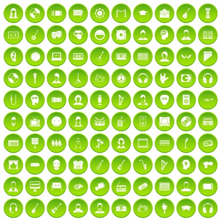 100 audience icons set green circle