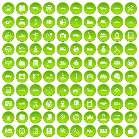100 auto icons set green circle