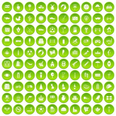 100 ball icons set green circle