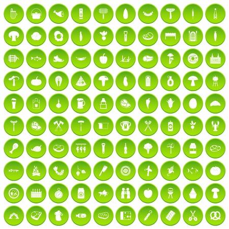 bbq barrel: 100 barbecue icons set green circle