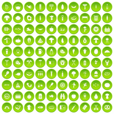 100 barbecue icons set green circle