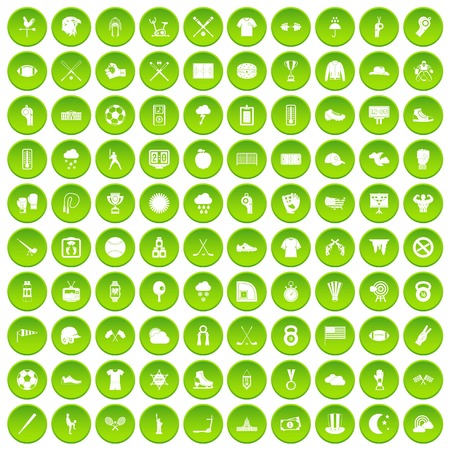 100 baseball icons set green circle Ilustrace
