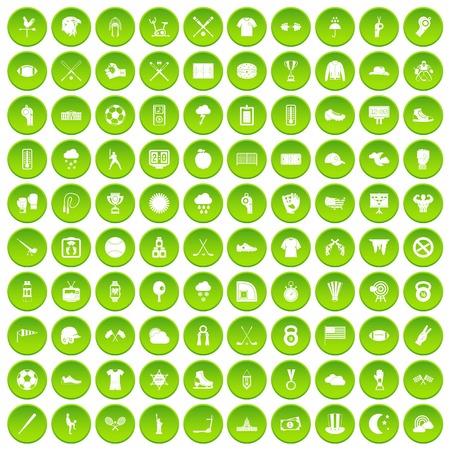 100 baseball icons set green circle Illustration