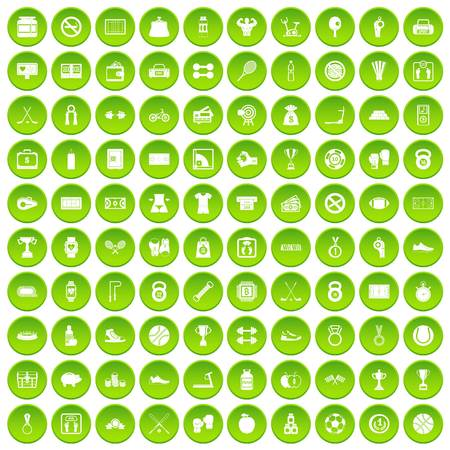 100 basketball icons set green circle