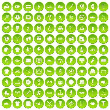 100 atleetpictogrammen instellen groene cirkel Stock Illustratie