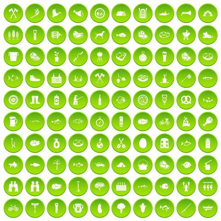 100 BBQ icons set green circle Illustration