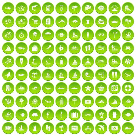 100 beach icons set green circle