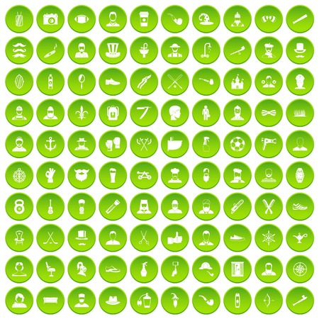 100 beard icons set green circle Illustration