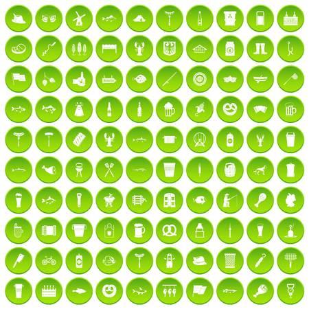 jarra de cerveza: 100 beer icons set green circle Vectores