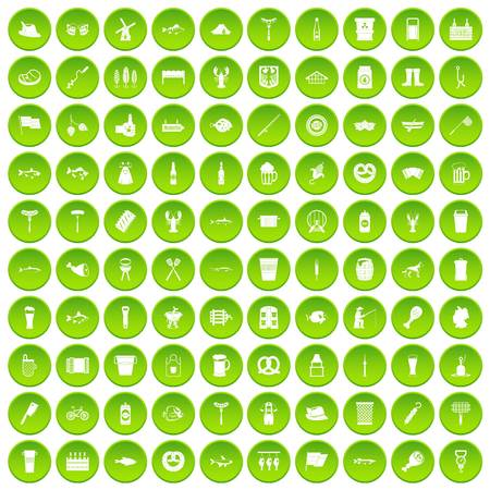 100 beer icons set green circle Illustration