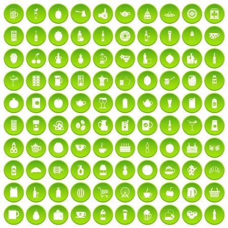 squeezer: 100 beverage icons set green circle
