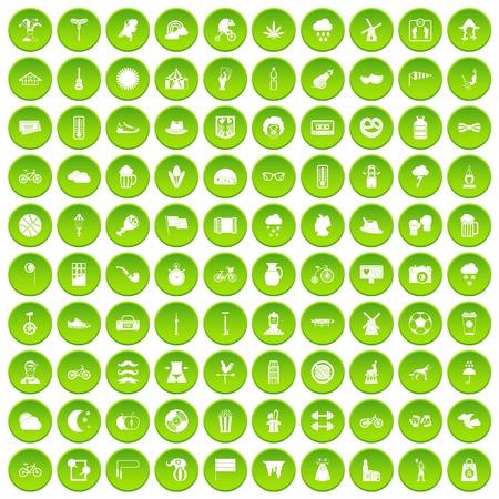 acordeon: 100 bicicletas iconos conjunto verde círculo