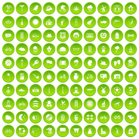 100 bicycle icons set green circle