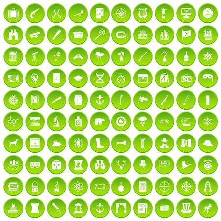 100 binoculars icons set green circle
