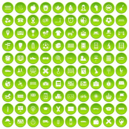 100 버스 아이콘이 녹색 원으로 설정 됨 일러스트
