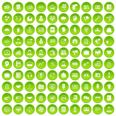 100 business people icons set green circle