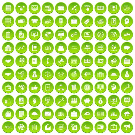100 business process icons set green circle