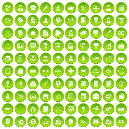 100 business strategy icons set green circle