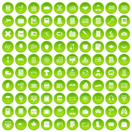 100 book icons set green circle