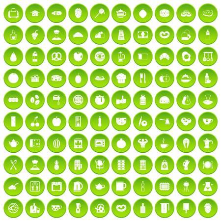 turk: 100 breakfast icons set green circle