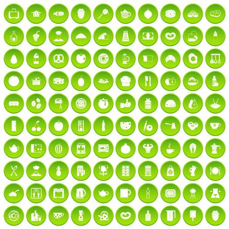 100 breakfast icons set green circle