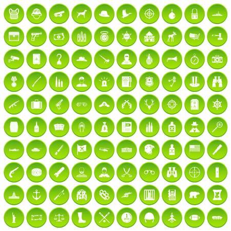 100 bullet icons set green circle