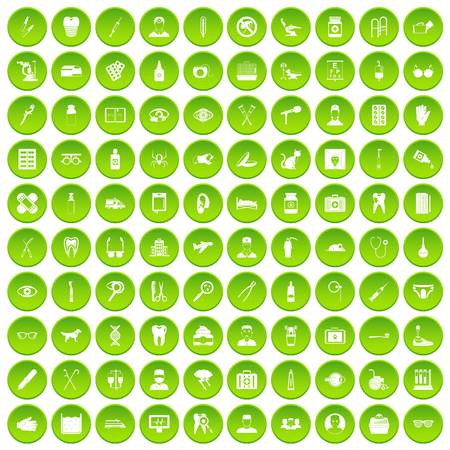 microbes: 100 care icons set green circle