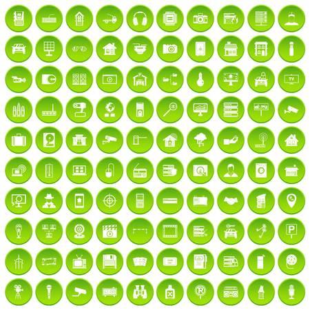 100 camera icons set green circle
