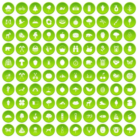 100 camping and nature icons set green circle