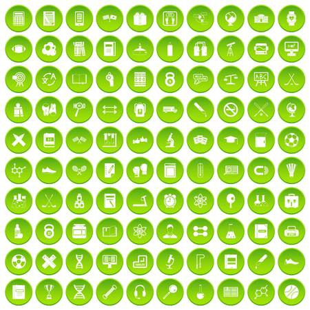 100 college icons set green circle
