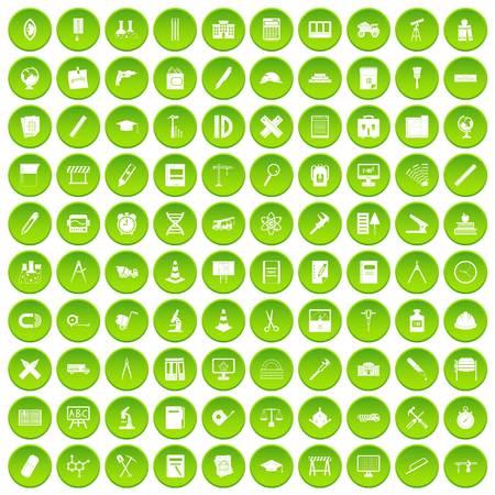 100 compass icons set green circle