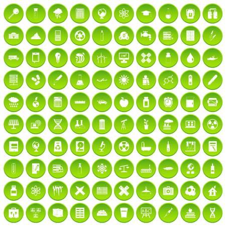100 chemistry icons set green circle