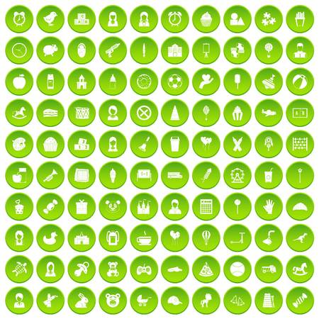 100 child center icons set green circle Illustration