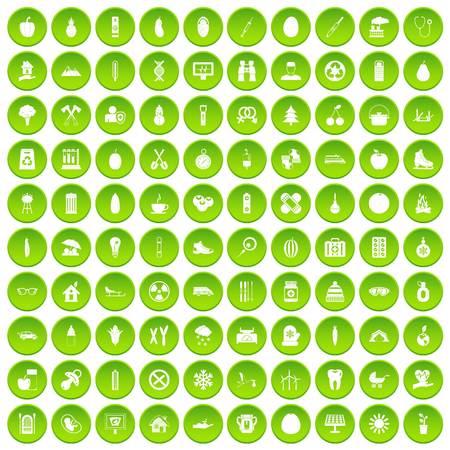 100 child health icons set green circle