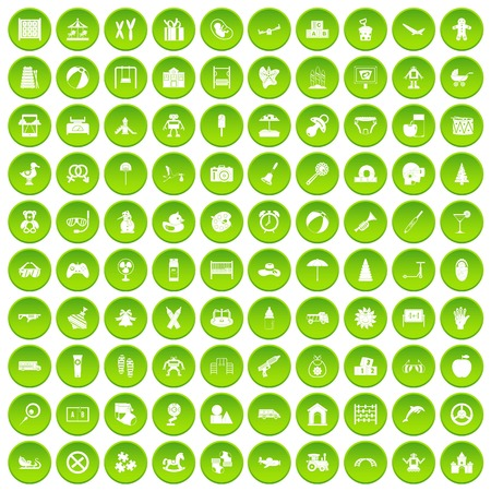 100 childhood icons set green circle Illustration