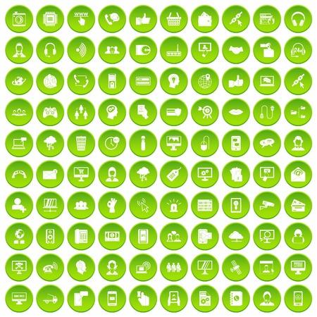 100 contact us icons set green circle Illustration