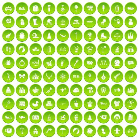 100 children icons set green circle