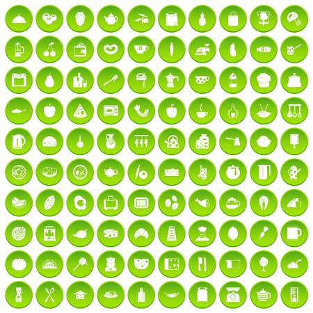 100 cooking icons set green circle