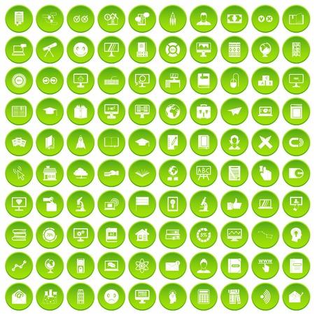 100 e-learning icons set green circle Illustration