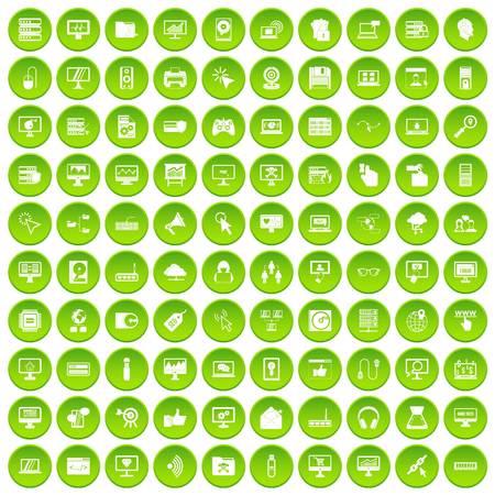 computer operator: 100 computer icons set green circle