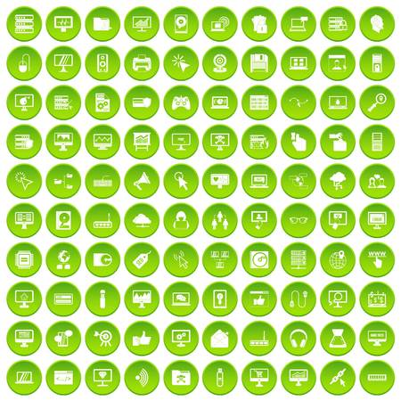 100 computer icons set green circle