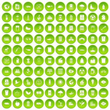 100 ecology icons set green circle Illustration