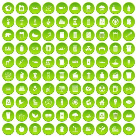 100 ecology icons set green circle Illustration