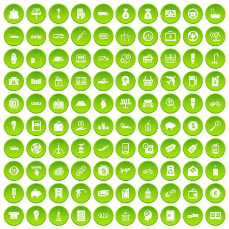 100 economy icons set green circle Illustration