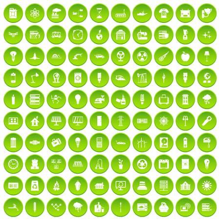 100 icone elettriche impostare cerchio verde Archivio Fotografico - 80002852