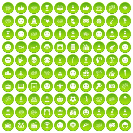 100 emotion icons set green circle Ilustrace
