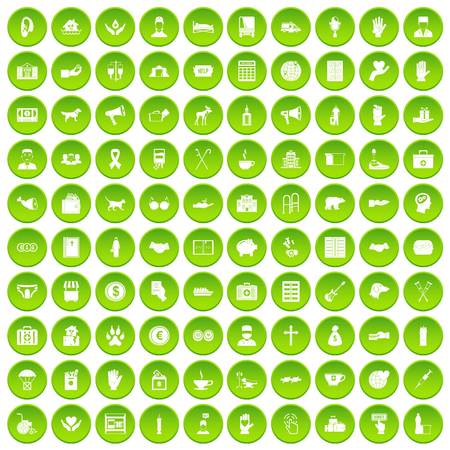 gift accident: 100 donation icons set green circle