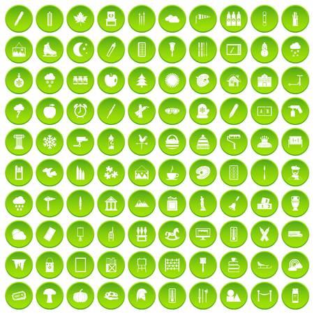 100 drawing icons set green circle Illustration