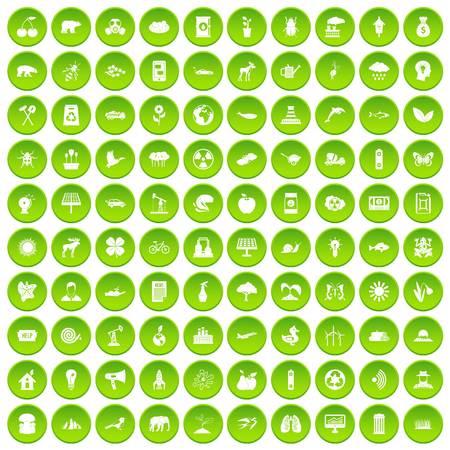 100 eco care icons set green circle