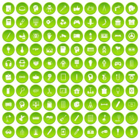 100 creative idea icons set green circle